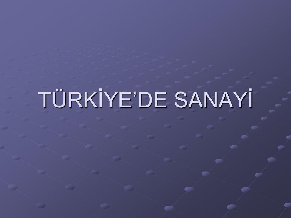 TÜRKİYE'DE SANAYİ