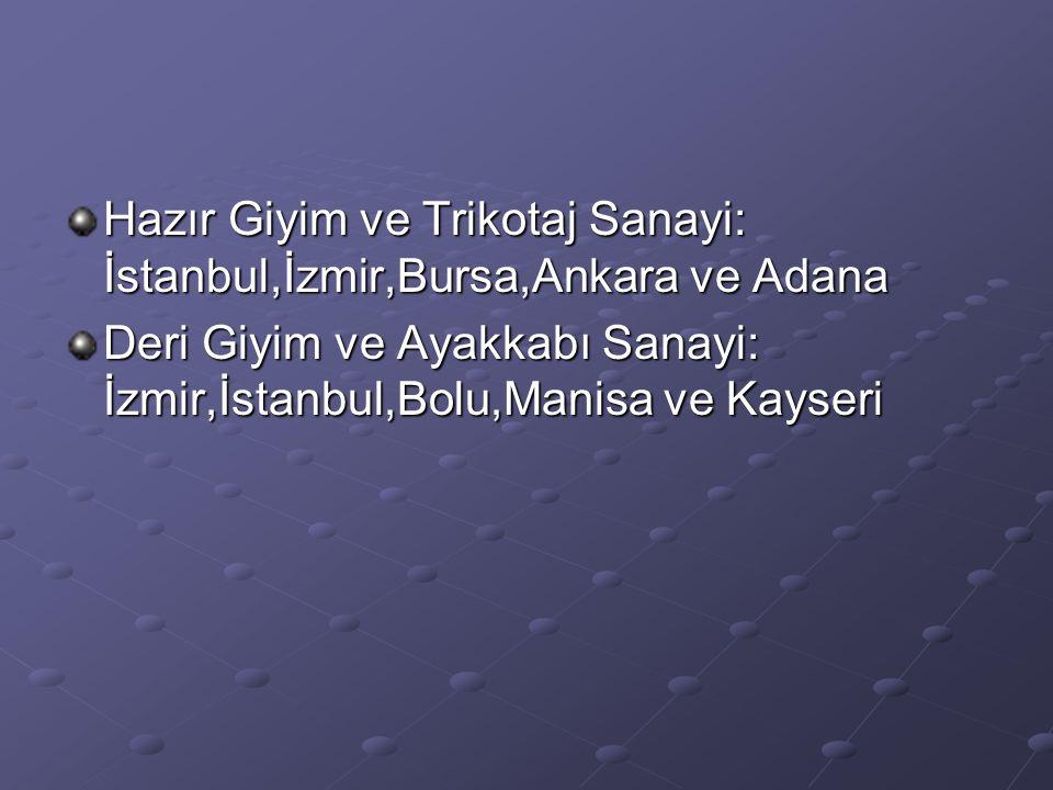 Hazır Giyim ve Trikotaj Sanayi: İstanbul,İzmir,Bursa,Ankara ve Adana