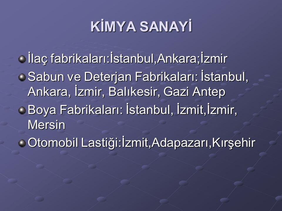 KİMYA SANAYİ İlaç fabrikaları:İstanbul,Ankara;İzmir