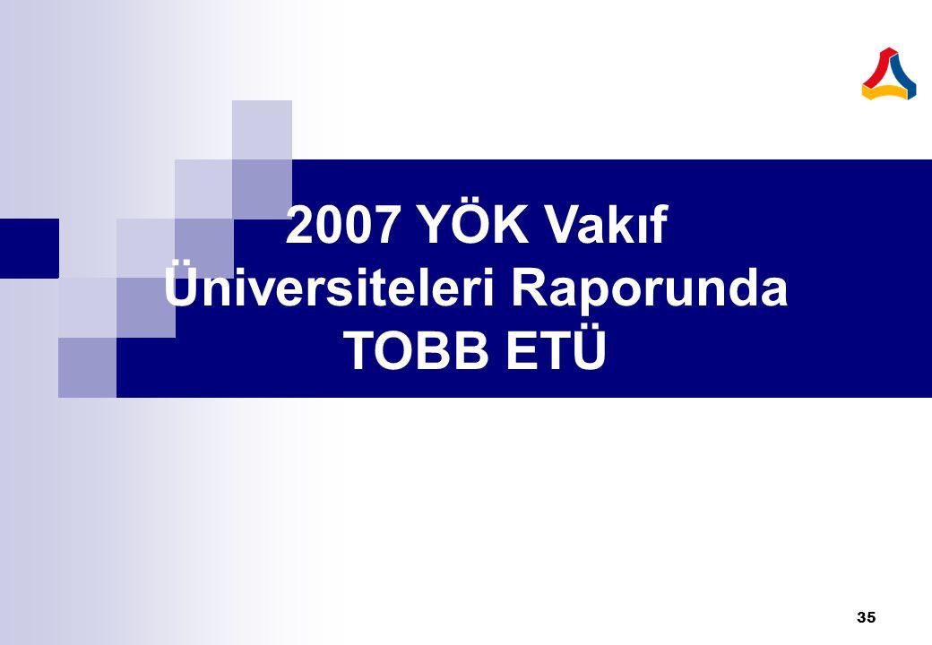 2007 YÖK Vakıf Üniversiteleri Raporunda TOBB ETÜ