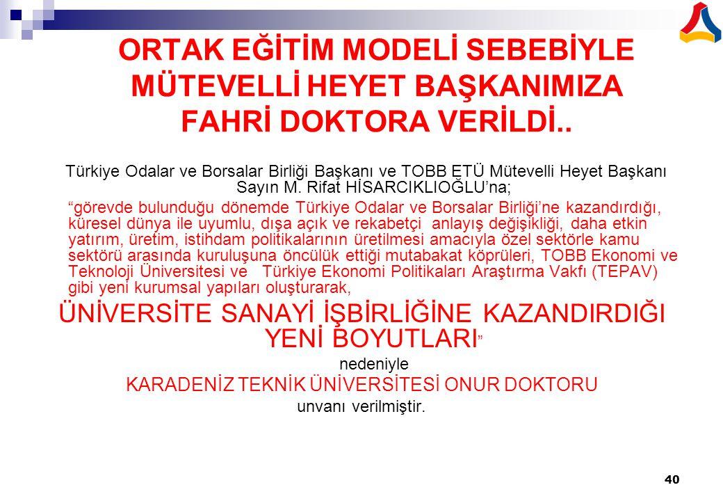 ORTAK EĞİTİM MODELİ SEBEBİYLE MÜTEVELLİ HEYET BAŞKANIMIZA FAHRİ DOKTORA VERİLDİ..
