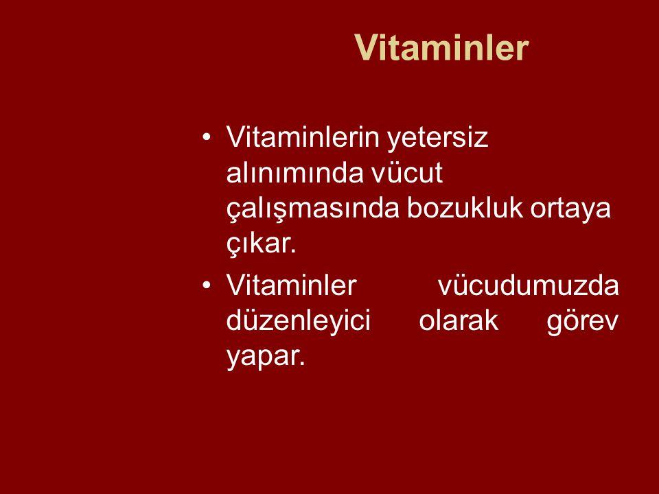 Vitaminler Vitaminlerin yetersiz alınımında vücut çalışmasında bozukluk ortaya çıkar.