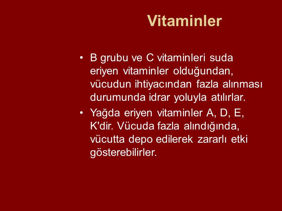 Vitaminler B grubu ve C vitaminleri suda eriyen vitaminler olduğundan, vücudun ihtiyacından fazla alınması durumunda idrar yoluyla atılırlar.