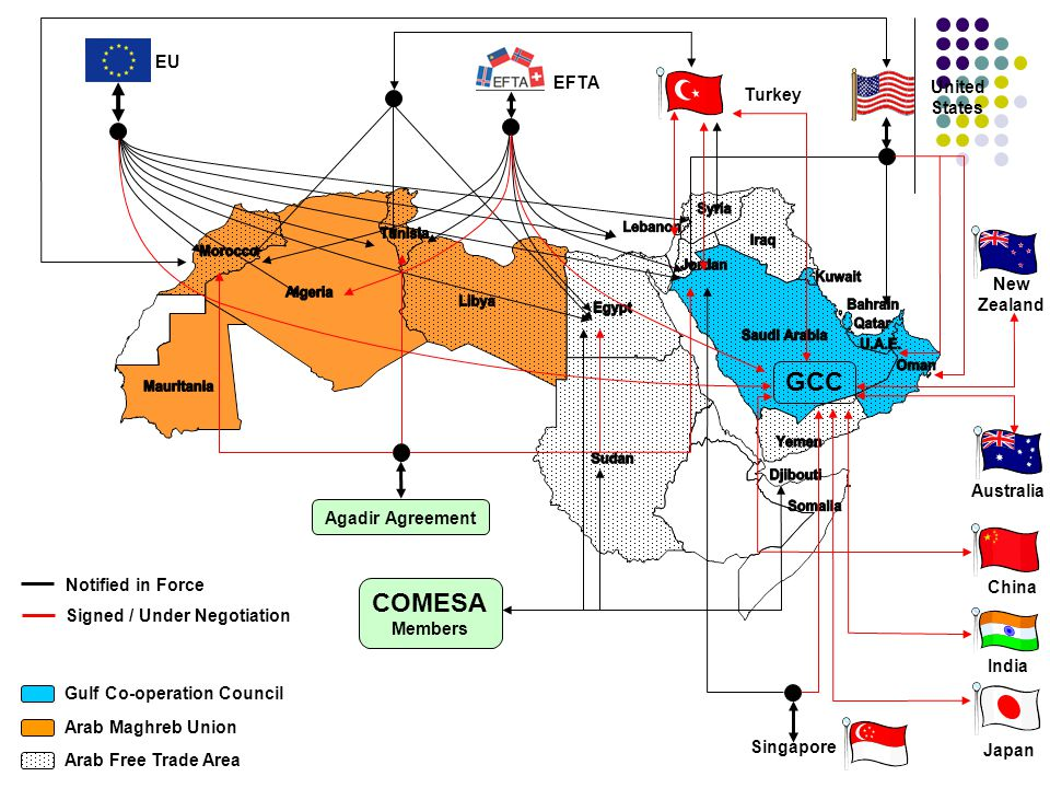 GCC COMESA EU EFTA United States Turkey New Zealand Australia