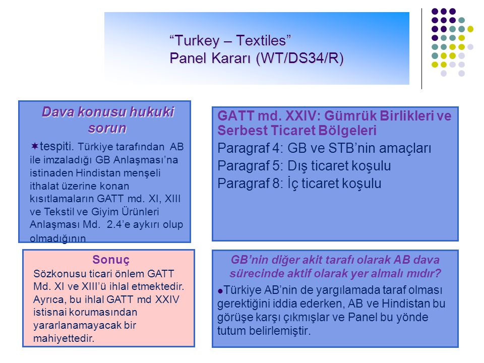 Turkey – Textiles Panel Kararı (WT/DS34/R)