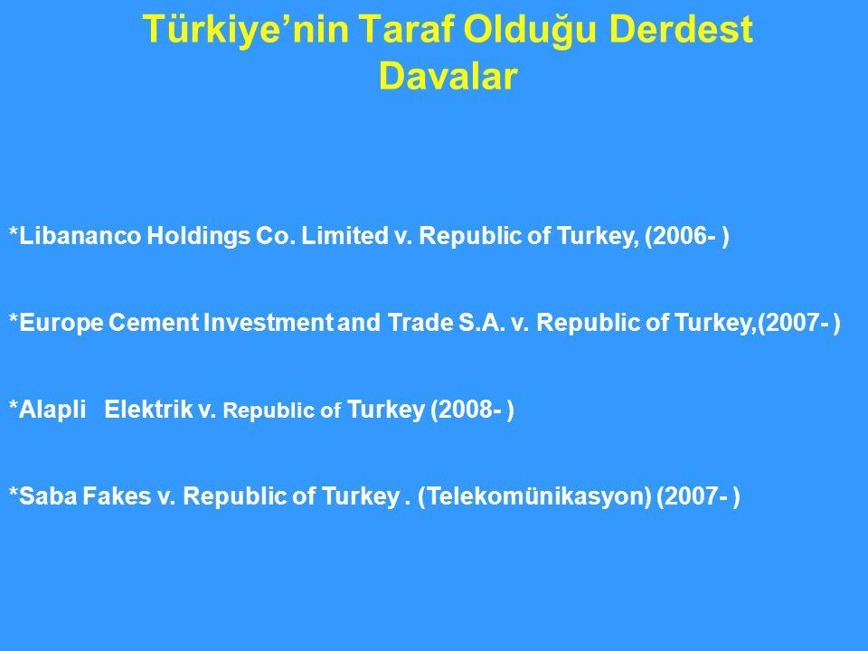 Türkiye'nin Taraf Olduğu Derdest Davalar
