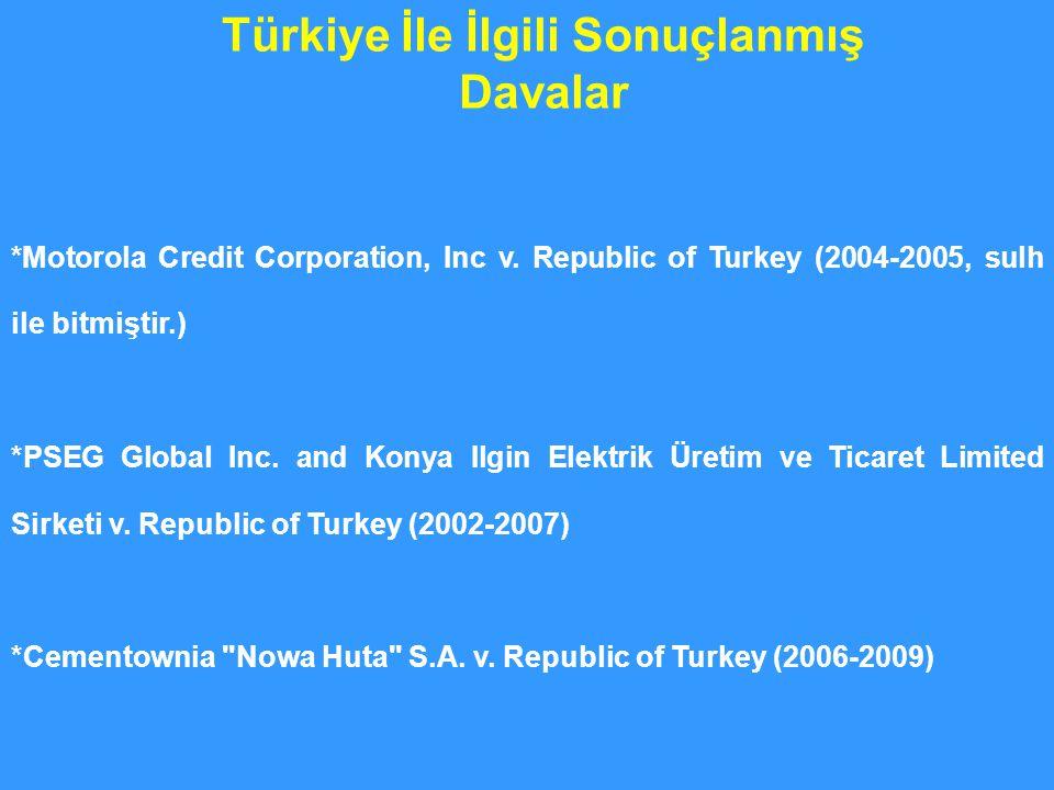 Türkiye İle İlgili Sonuçlanmış Davalar