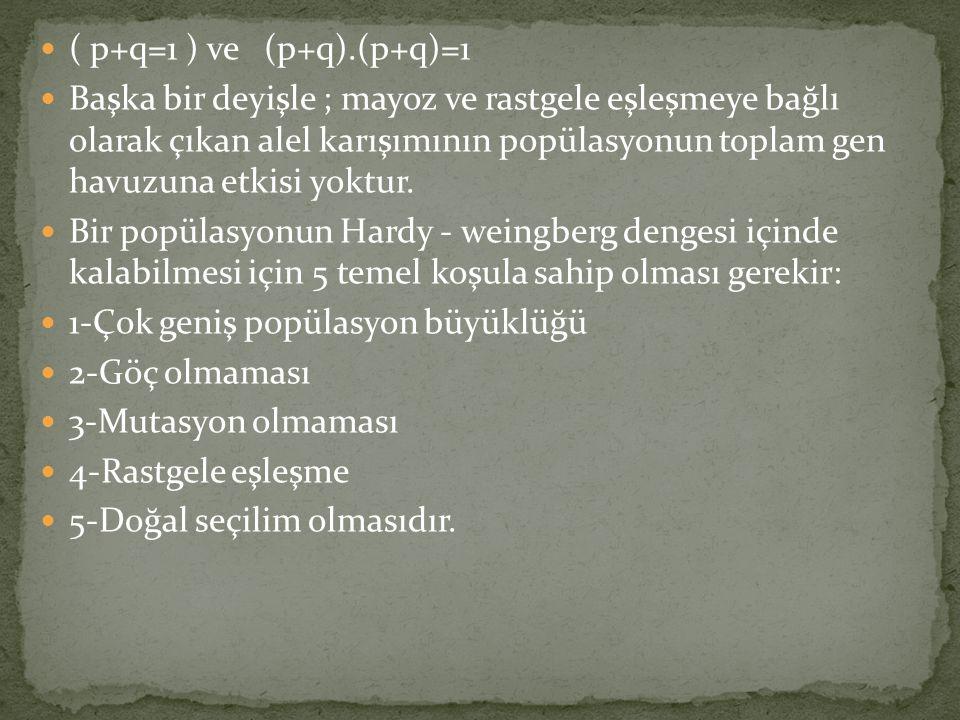 ( p+q=1 ) ve (p+q).(p+q)=1
