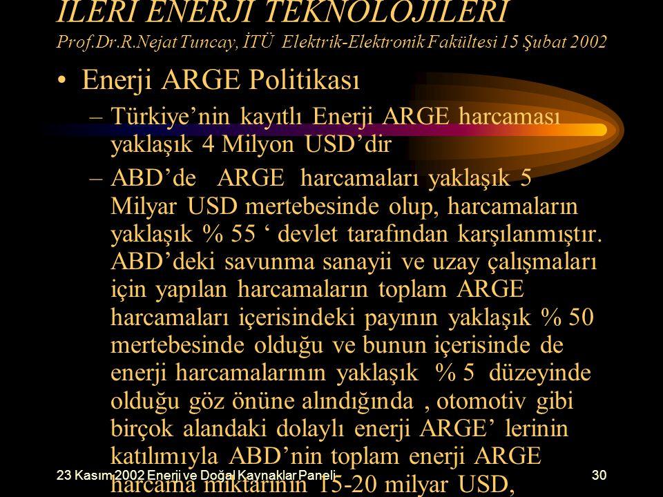İLERİ ENERJİ TEKNOLOJİLERİ Prof. Dr. R