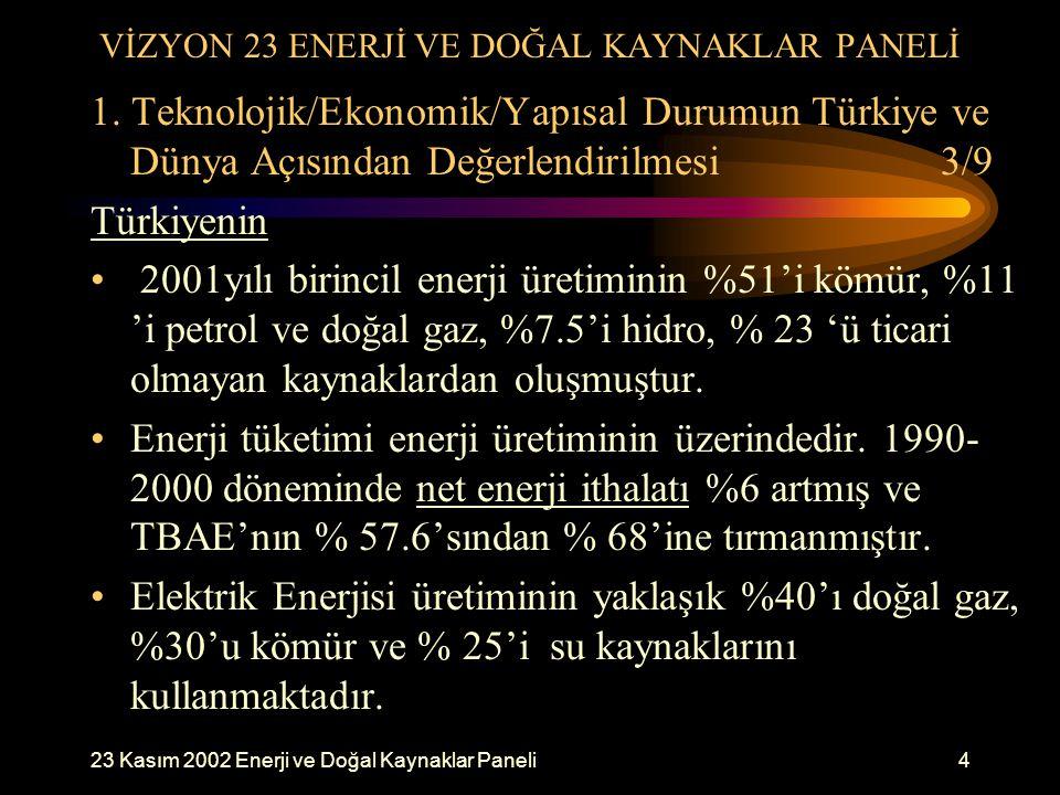 VİZYON 23 ENERJİ VE DOĞAL KAYNAKLAR PANELİ