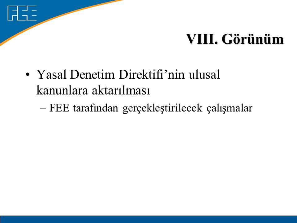 VIII. Görünüm Yasal Denetim Direktifi'nin ulusal kanunlara aktarılması