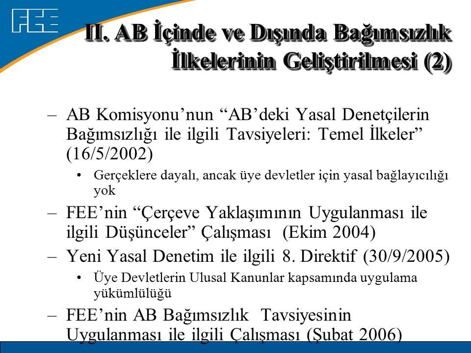 II. AB İçinde ve Dışında Bağımsızlık İlkelerinin Geliştirilmesi (2)