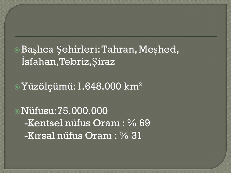 Başlıca Şehirleri: Tahran, Meşhed, İsfahan,Tebriz,Şiraz