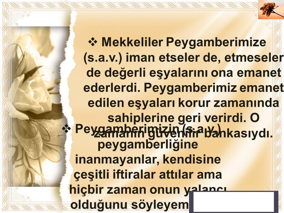 Mekkeliler Peygamberimize (s. a. v
