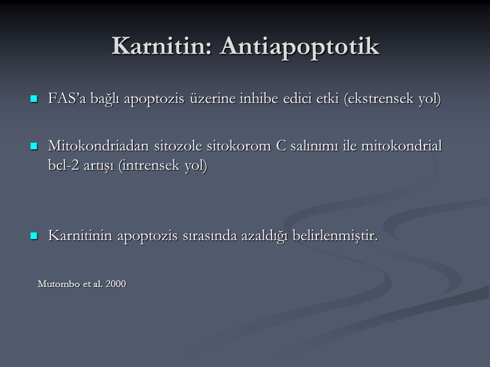 Karnitin: Antiapoptotik