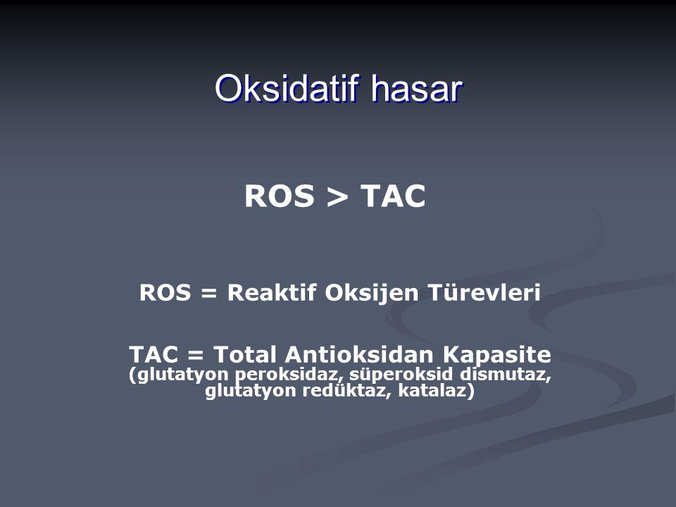 ROS = Reaktif Oksijen Türevleri
