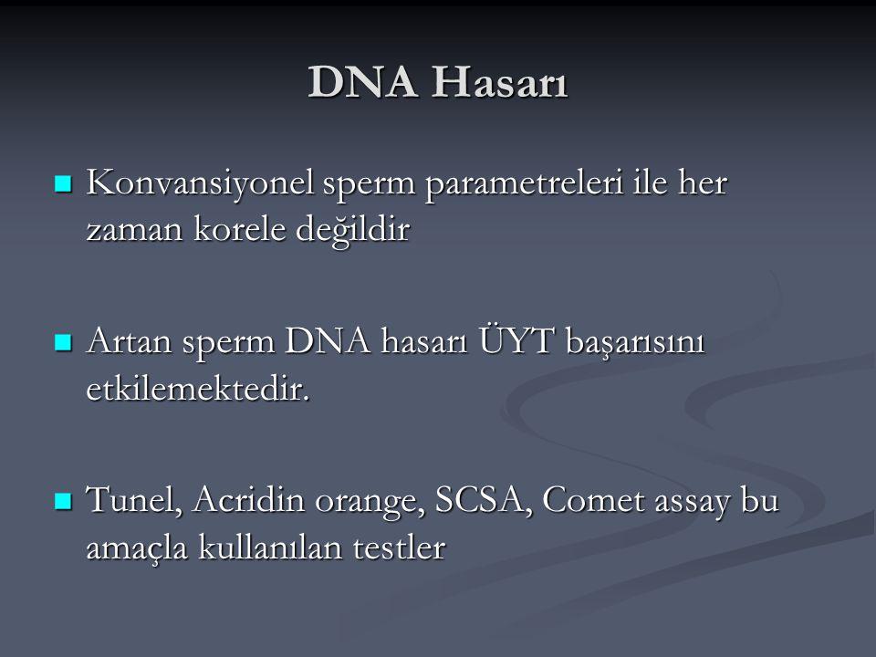 DNA Hasarı Konvansiyonel sperm parametreleri ile her zaman korele değildir. Artan sperm DNA hasarı ÜYT başarısını etkilemektedir.