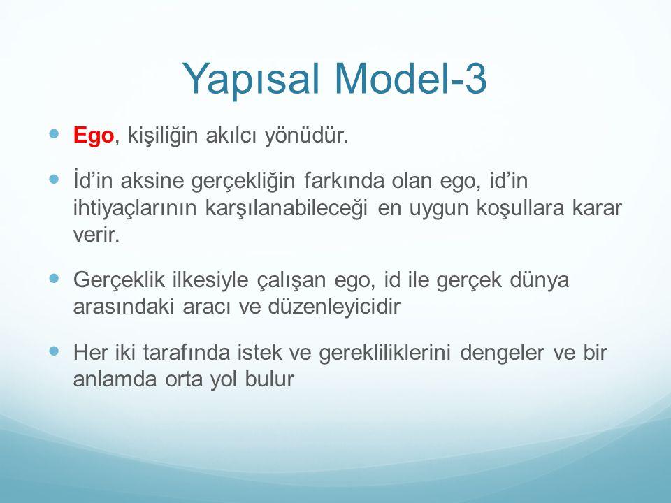Yapısal Model-3 Ego, kişiliğin akılcı yönüdür.