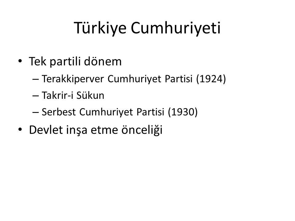 Türkiye Cumhuriyeti Tek partili dönem Devlet inşa etme önceliği