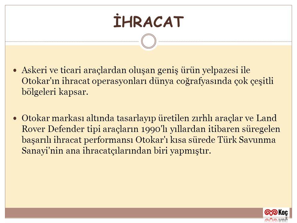 İHRACAT Askeri ve ticari araçlardan oluşan geniş ürün yelpazesi ile Otokar ın ihracat operasyonları dünya coğrafyasında çok çeşitli bölgeleri kapsar.