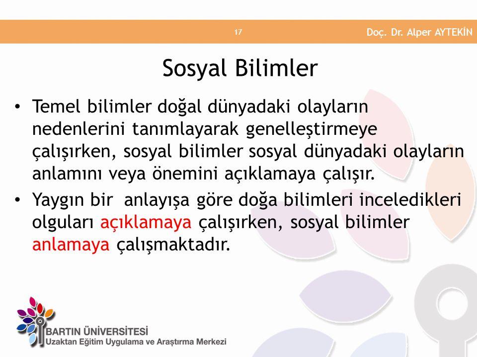 Doç. Dr. Alper AYTEKİN Sosyal Bilimler.