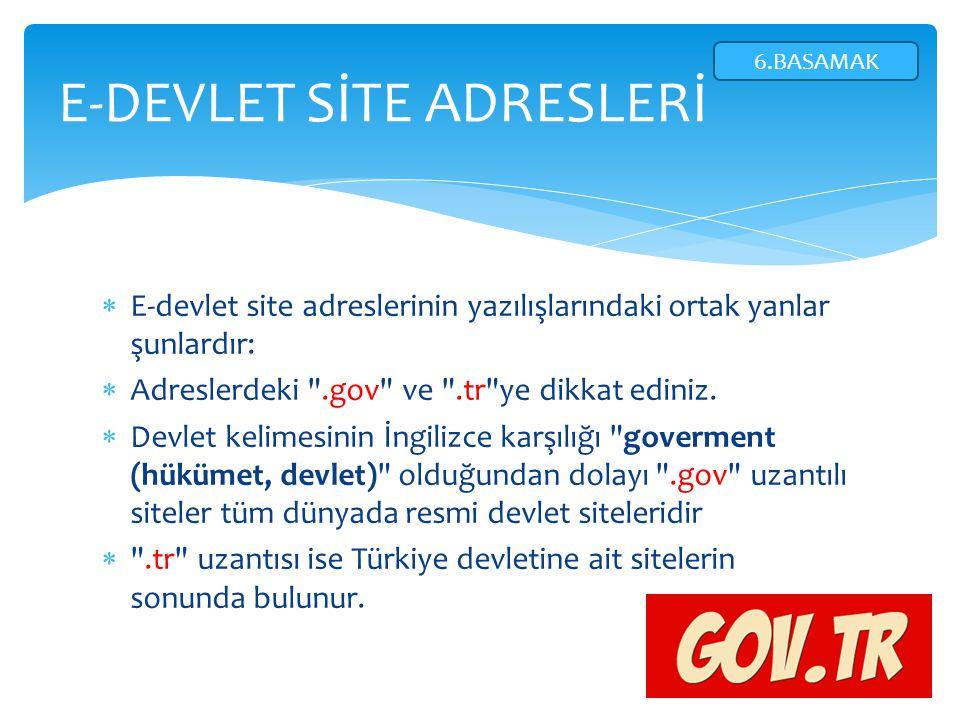 E-DEVLET SİTE ADRESLERİ