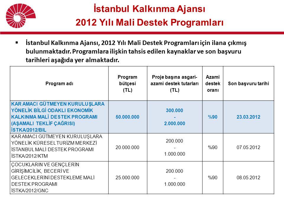 İstanbul Kalkınma Ajansı 2012 Yılı Mali Destek Programları