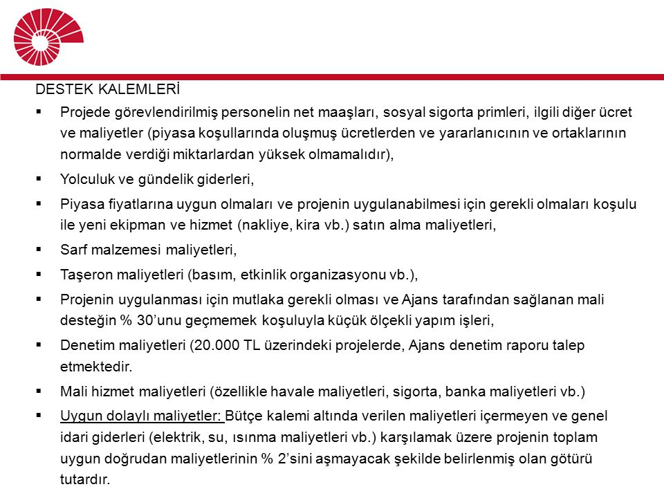 DESTEK KALEMLERİ
