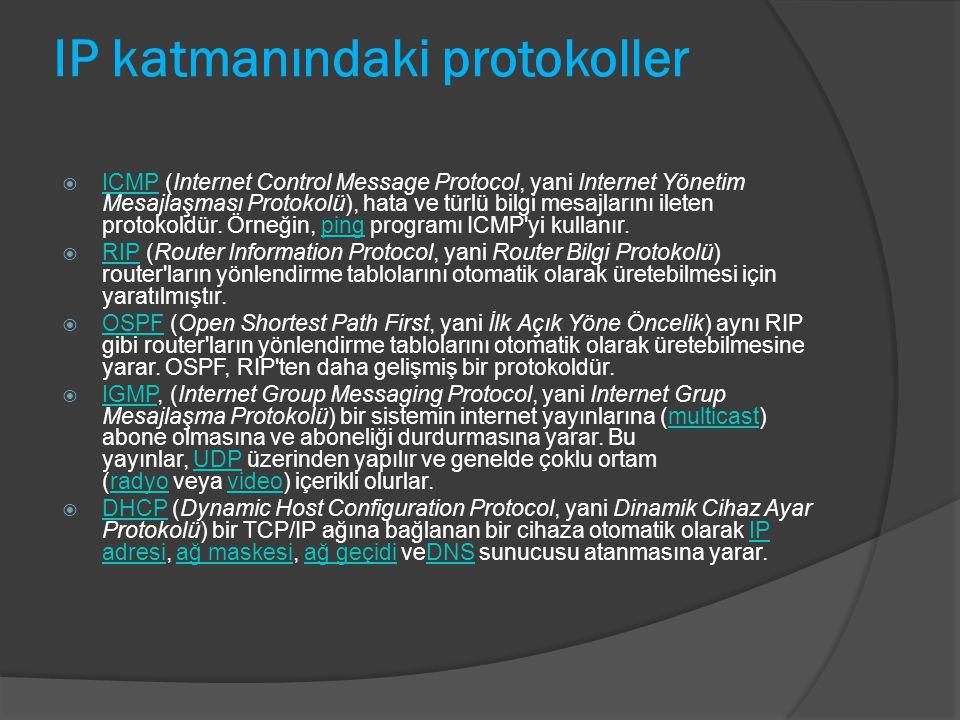 IP katmanındaki protokoller