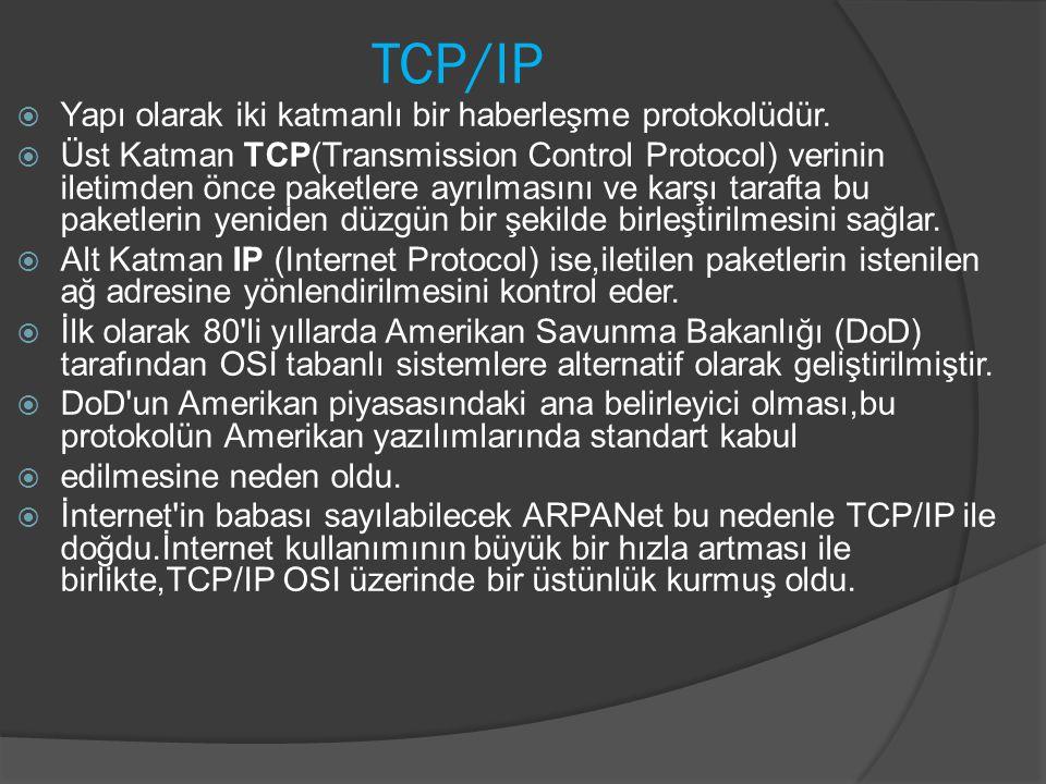 TCP/IP Yapı olarak iki katmanlı bir haberleşme protokolüdür.