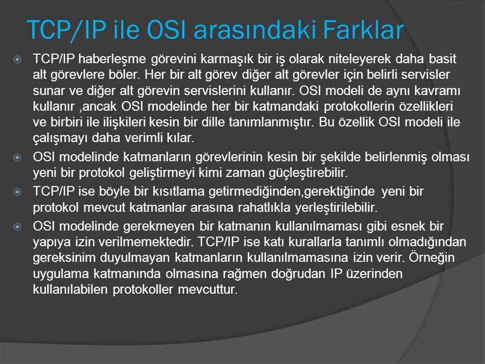 TCP/IP ile OSI arasındaki Farklar