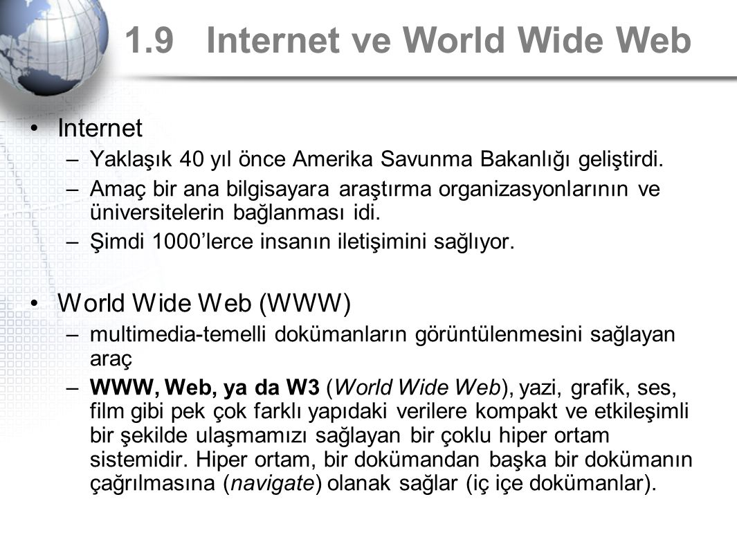 1.9 Internet ve World Wide Web