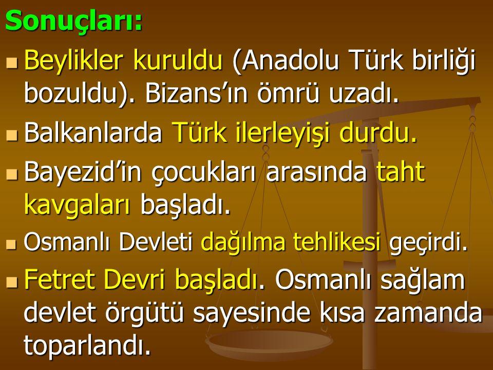 Balkanlarda Türk ilerleyişi durdu.
