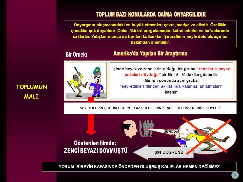 TOPLUMUN MALI Gösterilen filmde: ZENCİ BEYAZI DÖVMÜŞTÜ