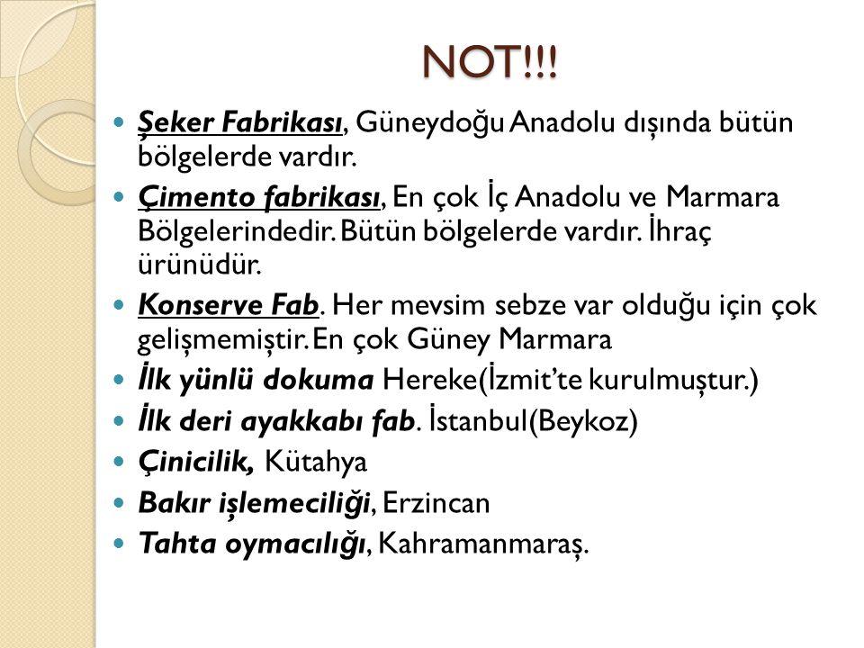 NOT!!! Şeker Fabrikası, Güneydoğu Anadolu dışında bütün bölgelerde vardır.