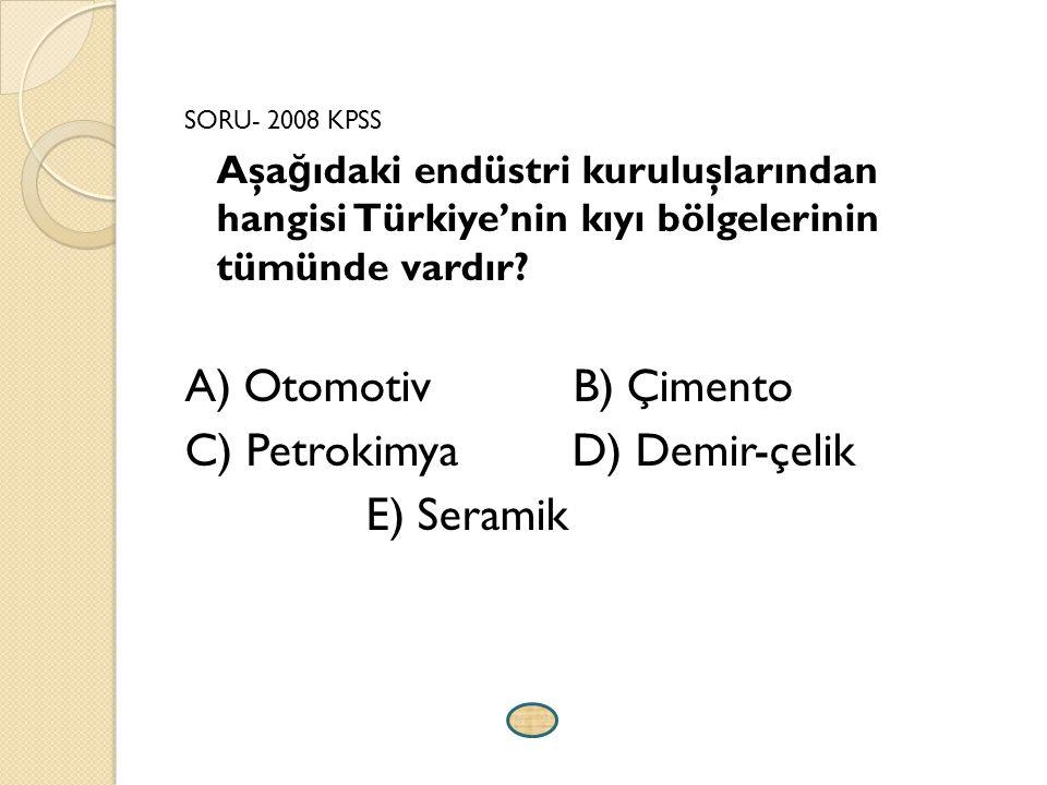 C) Petrokimya D) Demir-çelik E) Seramik