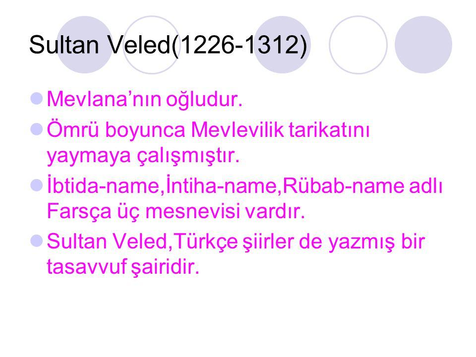 Sultan Veled(1226-1312) Mevlana'nın oğludur.