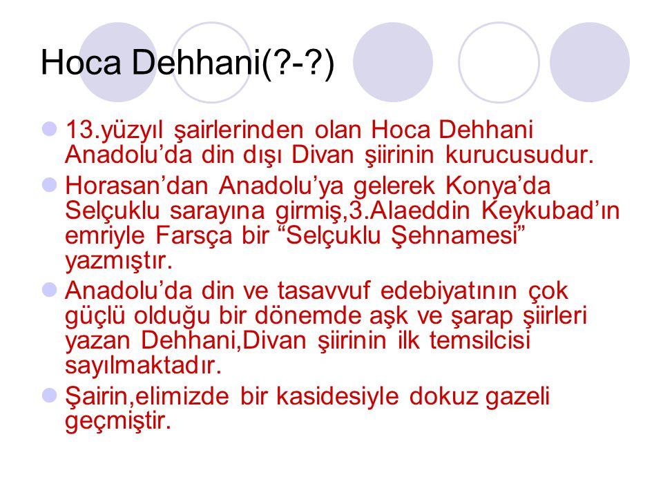 Hoca Dehhani( - ) 13.yüzyıl şairlerinden olan Hoca Dehhani Anadolu'da din dışı Divan şiirinin kurucusudur.