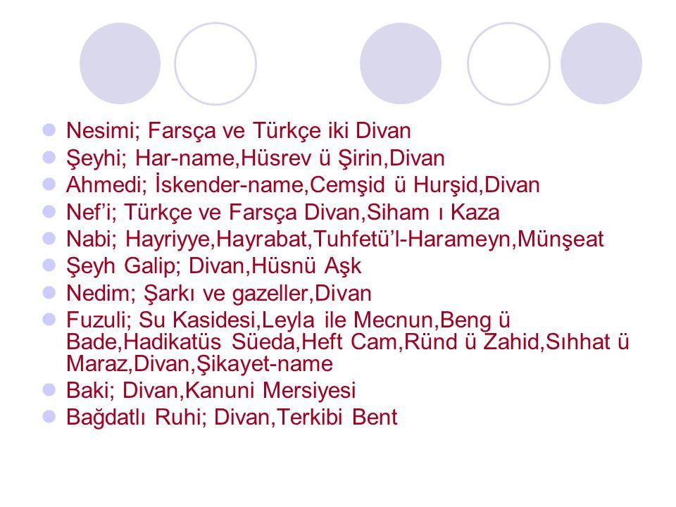 Nesimi; Farsça ve Türkçe iki Divan