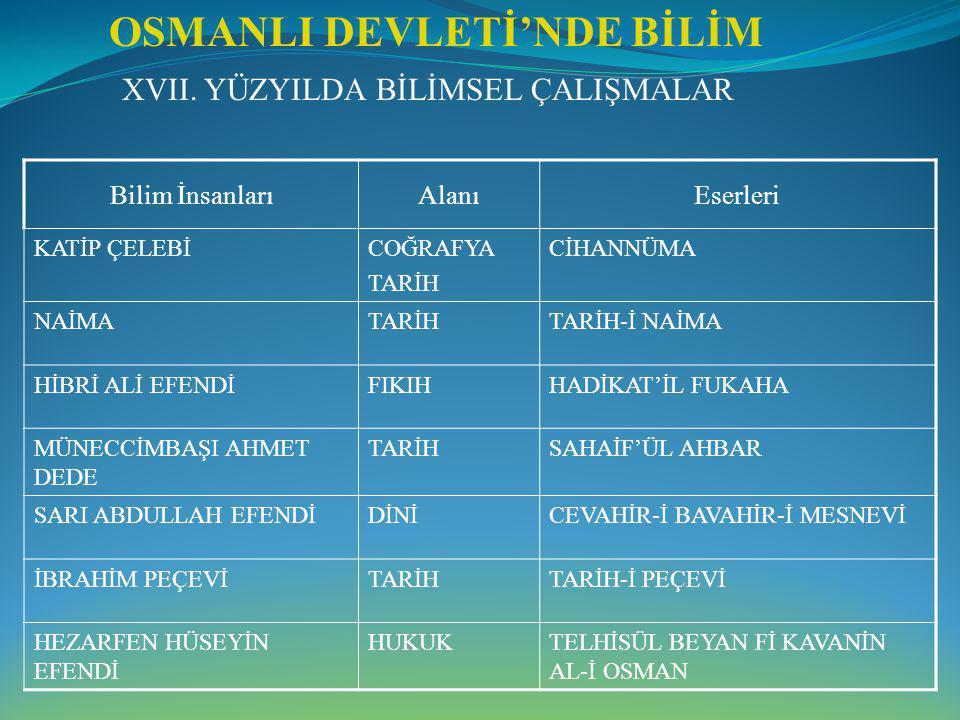 OSMANLI DEVLETİ'NDE BİLİM