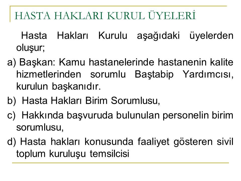 HASTA HAKLARI KURUL ÜYELERİ