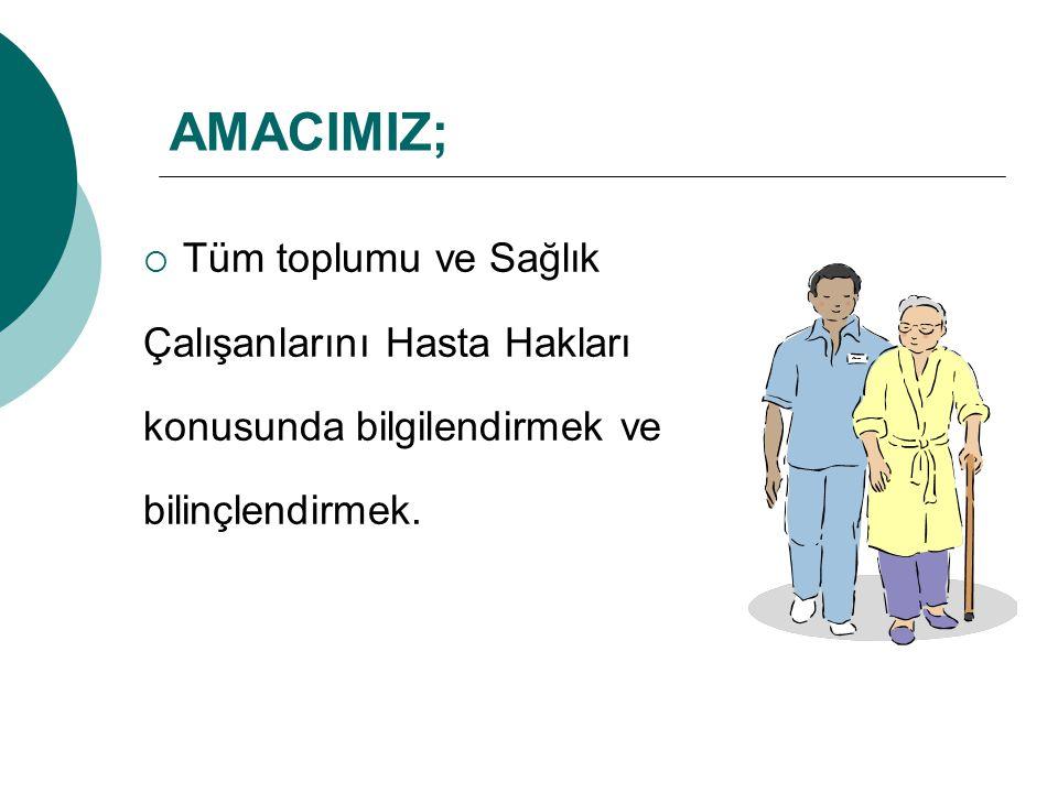 AMACIMIZ; Tüm toplumu ve Sağlık Çalışanlarını Hasta Hakları