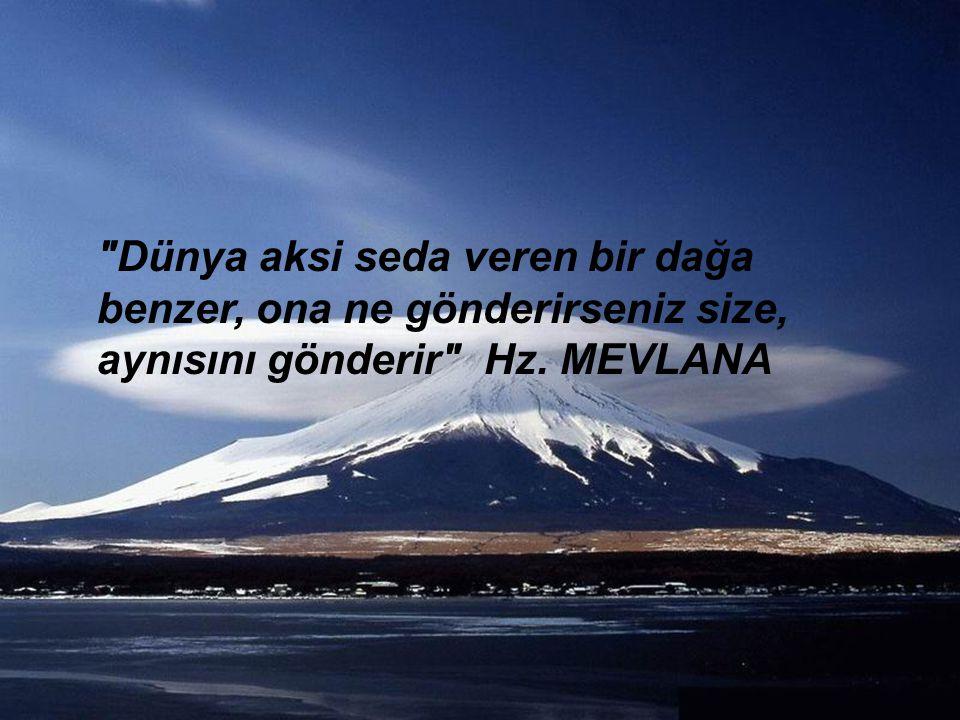 Dünya aksi seda veren bir dağa benzer, ona ne gönderirseniz size, aynısını gönderir Hz. MEVLANA