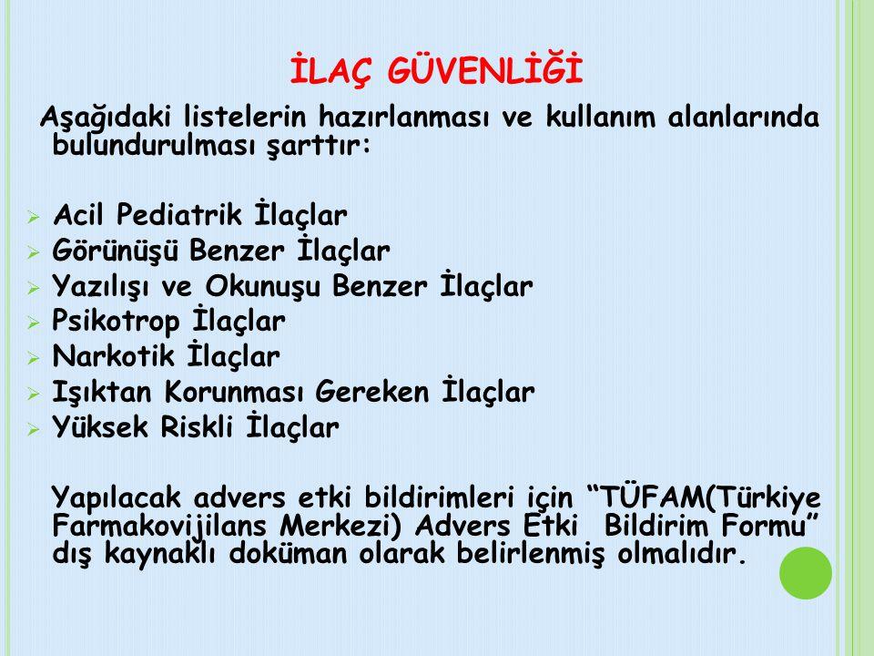 İLAÇ GÜVENLİĞİ Aşağıdaki listelerin hazırlanması ve kullanım alanlarında bulundurulması şarttır: Acil Pediatrik İlaçlar.