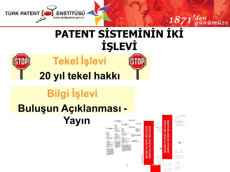 PATENT SİSTEMİNİN İKİ İŞLEVİ Buluşun Açıklanması - Yayın