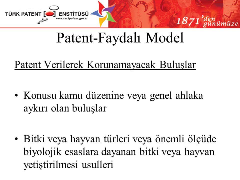 Patent-Faydalı Model Patent Verilerek Korunamayacak Buluşlar
