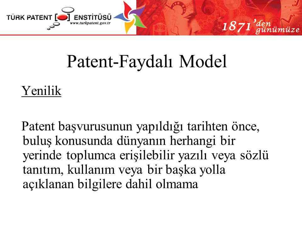 Patent-Faydalı Model Yenilik