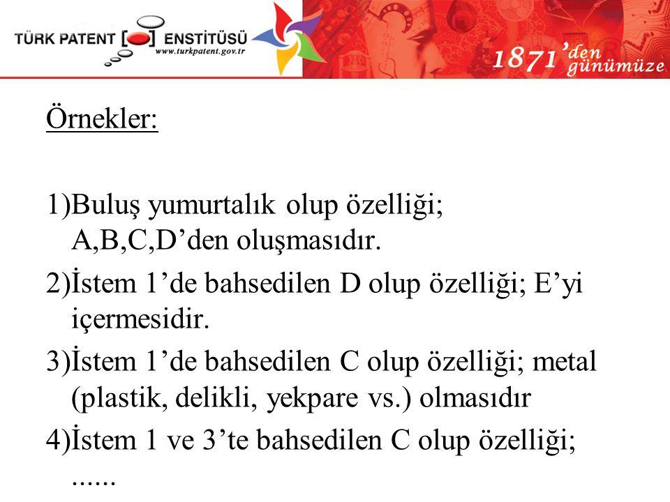 Örnekler: 1)Buluş yumurtalık olup özelliği; A,B,C,D'den oluşmasıdır. 2)İstem 1'de bahsedilen D olup özelliği; E'yi içermesidir.