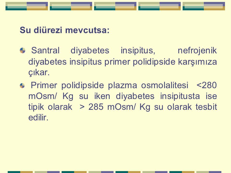 Su diürezi mevcutsa: Santral diyabetes insipitus, nefrojenik diyabetes insipitus primer polidipside karşımıza çıkar.