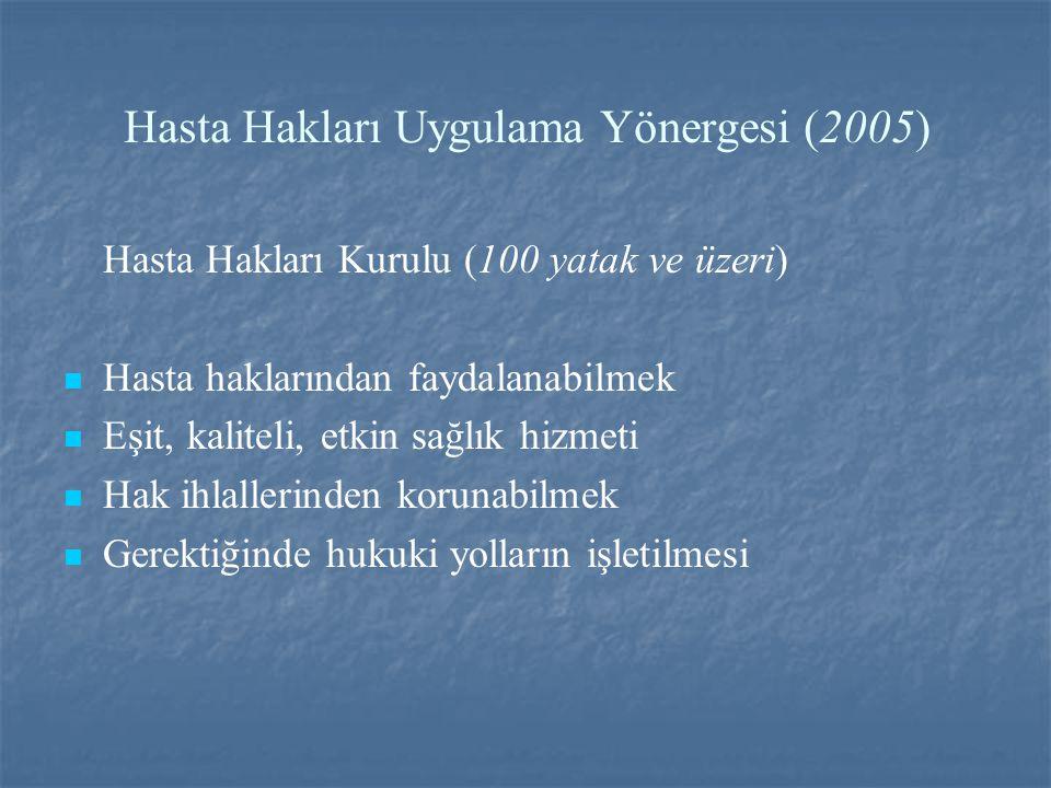 Hasta Hakları Uygulama Yönergesi (2005)